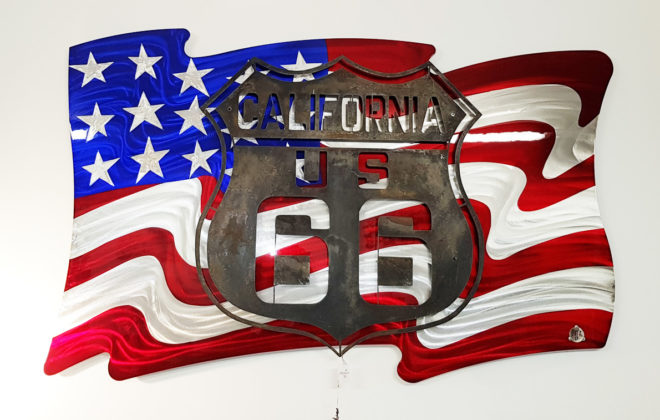 decoration murale metal drapeau usa road 66