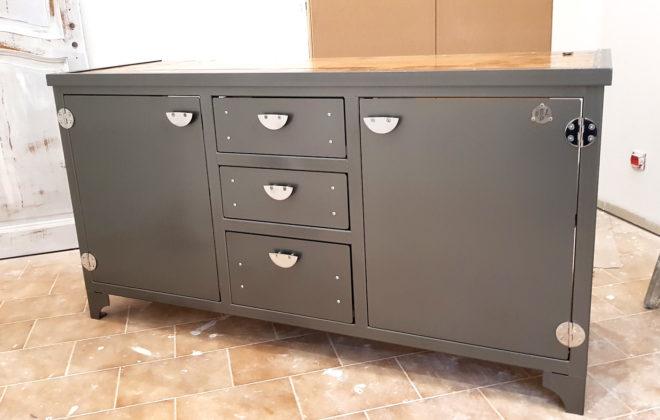 meuble de salle de bain acier inox et chène massif