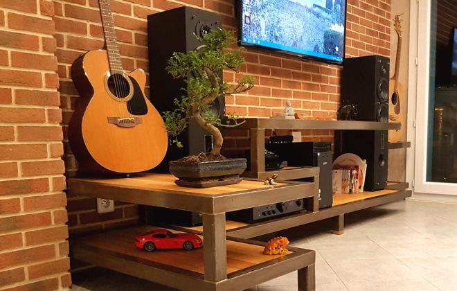 meuble tv acier et chene massif (4)