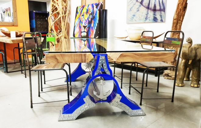 table atlantis  acier bois et verre