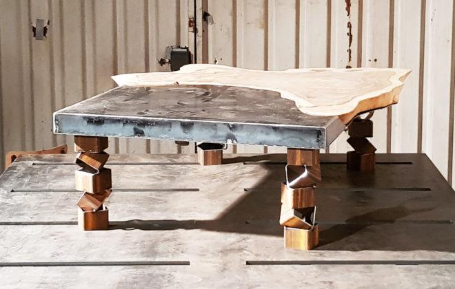 table basse hollow acier et bois