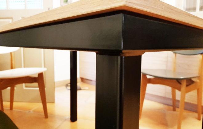 table acier et chene massif