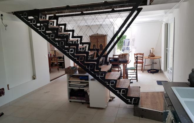 escalier hermés acier inox chène massif